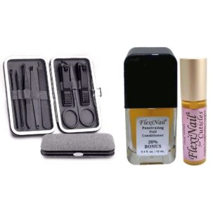 FlexiNail for Nails & Cuticles with 8 Piece Travel Manicure Set